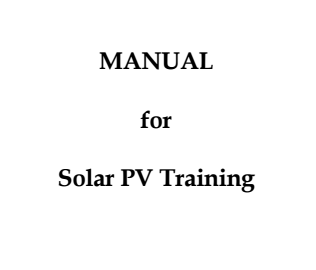 Manual for Solar PV training