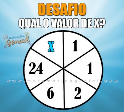 Desafio: Qual o valor de x no círculo?