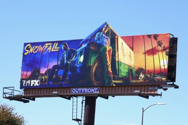 Snowfall season 2 extension cut-out billboard