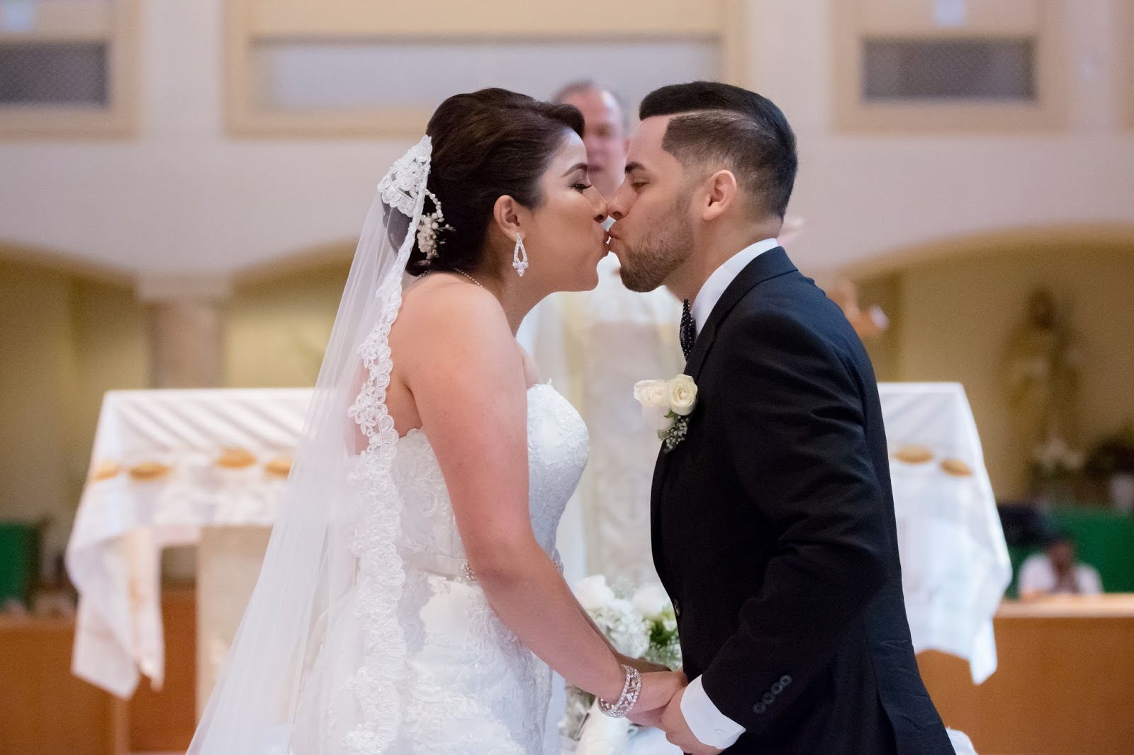 Bride and Groom Official Wedding Kiss