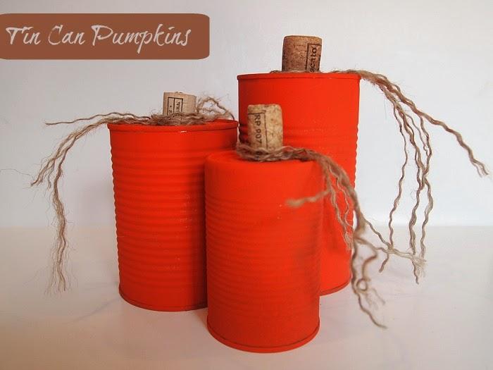 Tin Can Pumpkins #halloween #fallcraft #crafting #recyclingcraft