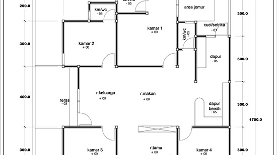 Lingkar Warna Denah Rumah Minimalis 1 Lantai Luas 120m2 4 Kamar Tidur