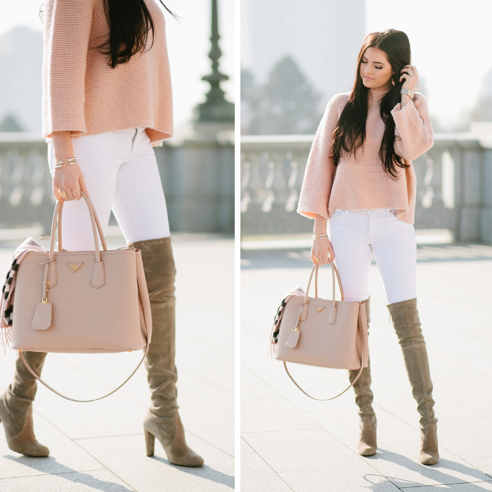 pink peonies, blush sweater, white jeans, prada bag, burberry scarf