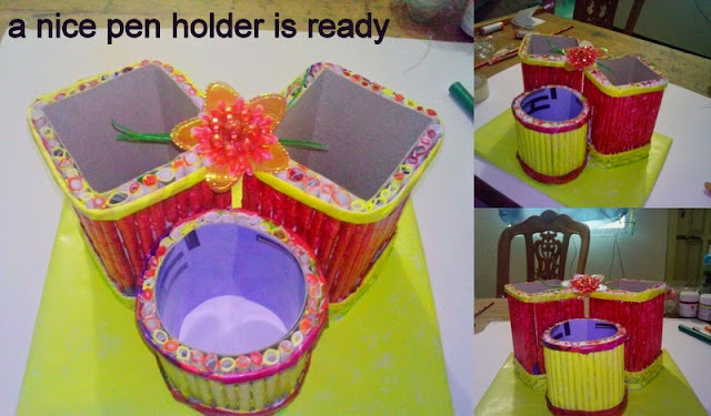 Recycling crafts ideas-How to make a nice Pen holder  in easy way