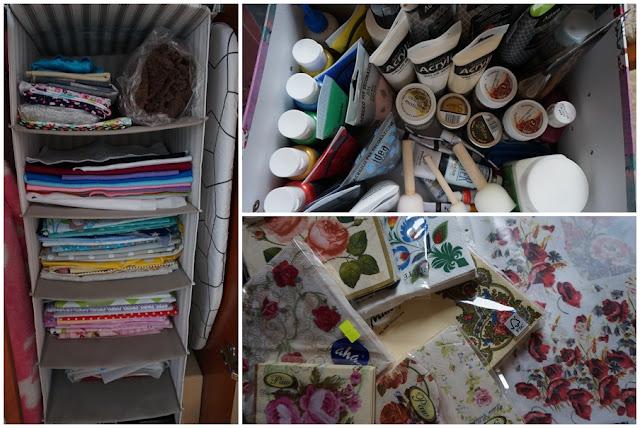 decoupage, farby, serwetki, tkaniny, szycie