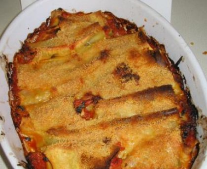 Cannelloni goat and ham cannelloni