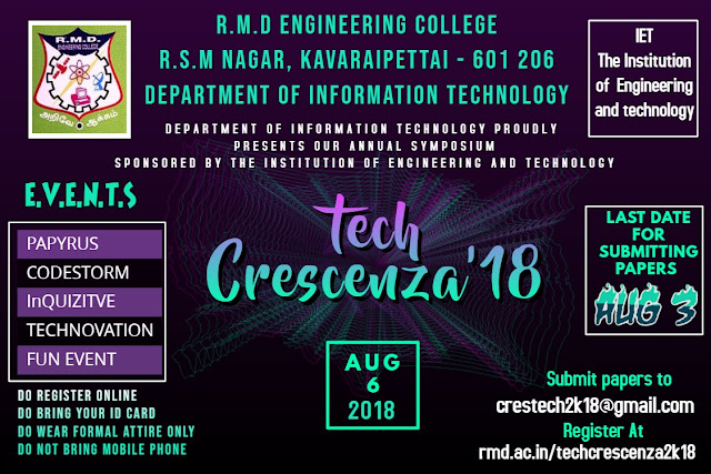 TechCrescenza 2018 National Level Technical Symposium @ RMD Engineering College