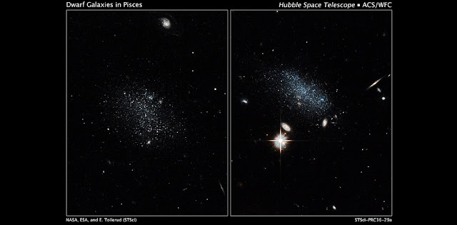 NASA's Hubble Space Telescope has captured the glow of new stars in these small, ancient galaxies. Pisces A is on the left and Pisces B is on the right. Credit: NASA, ESA, and E. Tollerud (STScI)