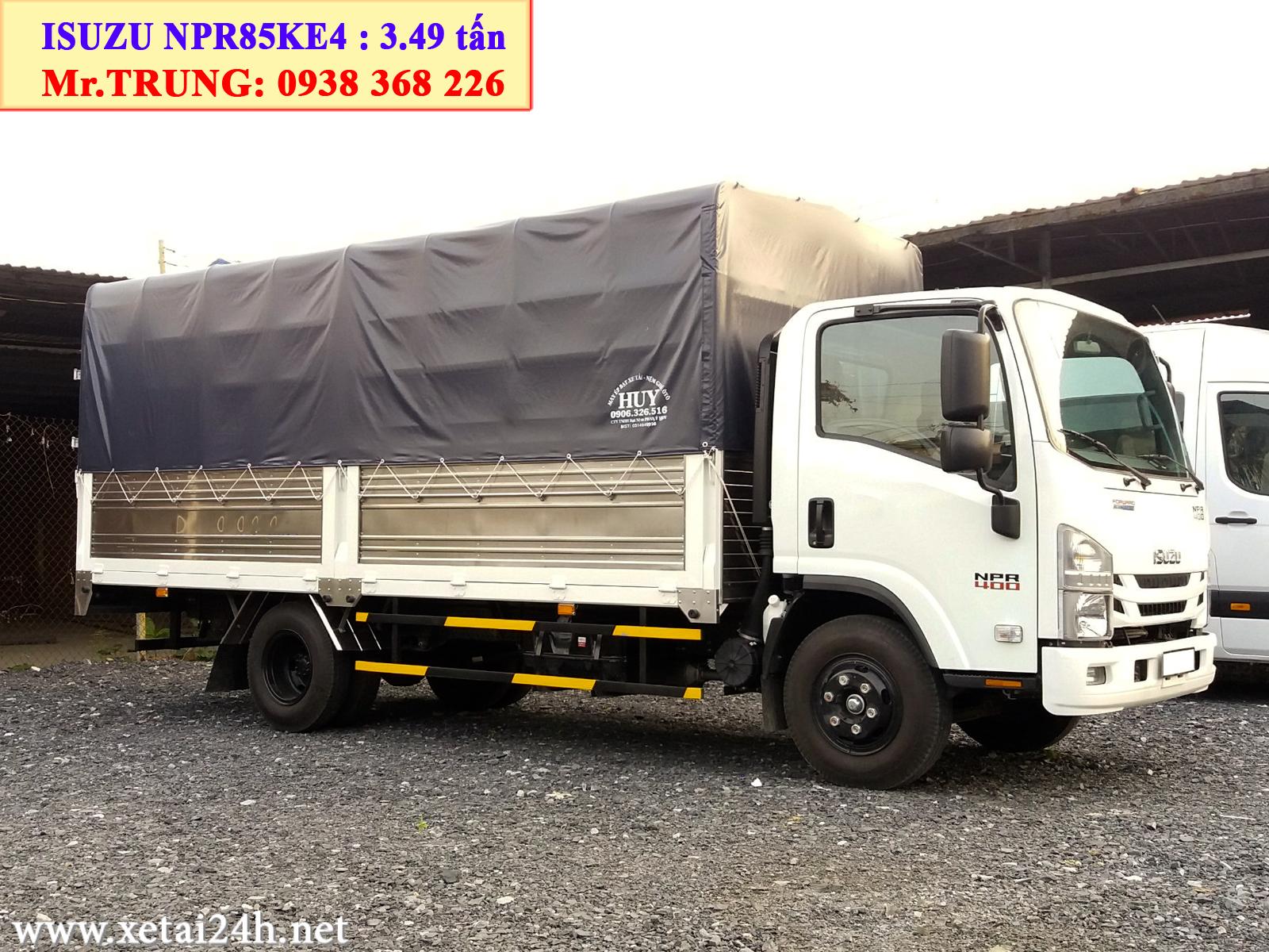 Xe tải Isuzu NPR85KE4 thùng mui bạt 5m2, tải trọng 3t5