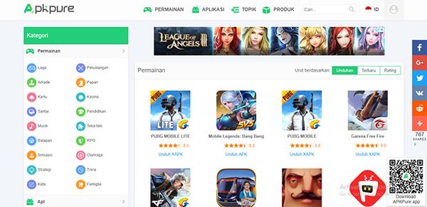 apkpure, situs yang menyediakan tempat download untuk pengguna android