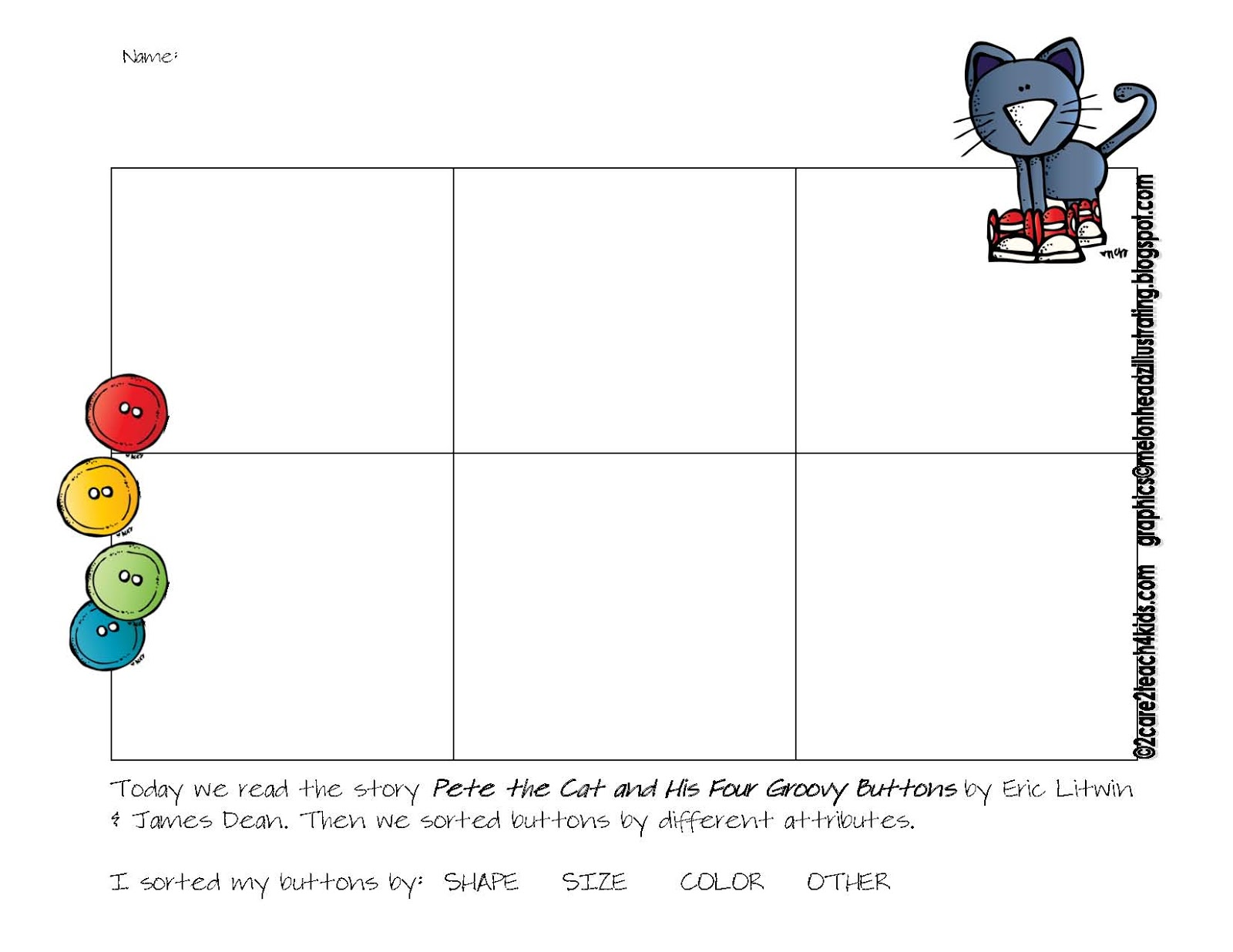 2care2teach4kids Pete The Cat And His Four Groovy Buttons