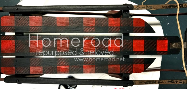 Red and Black Christmas Buffalo Check Vintage Sled with overlay