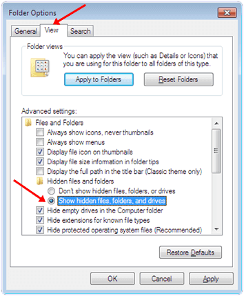 windows Show hidden files, folder and drive option