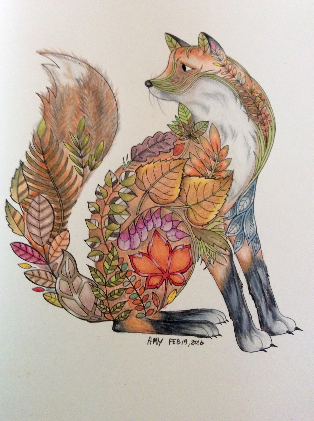 I Picked Out This Fox From My Johanna Basford Book To Color And Set Go Beyond Just Adding Going For Texture Fur Redux