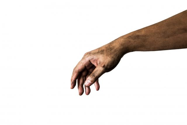 dirty-hand-extended-white-background