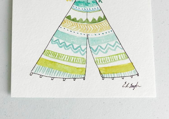 Yellow, Green, Teal Watercolor Teepee by Elise Engh