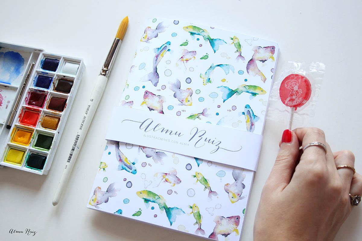 Cuadernos hechos a mano con ilustraciones de acuarela