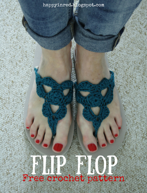 Crochet flip flops, free pattern | Happy in Red
