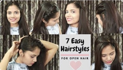 7 Different Ways to Style Open Hair| Everyday Quick&Easy Hairstyles For school/collage/party