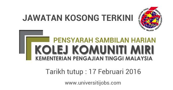 Jawatan Kosong Pensyarah di Kolej Komuniti MIRI 2016 Terkini