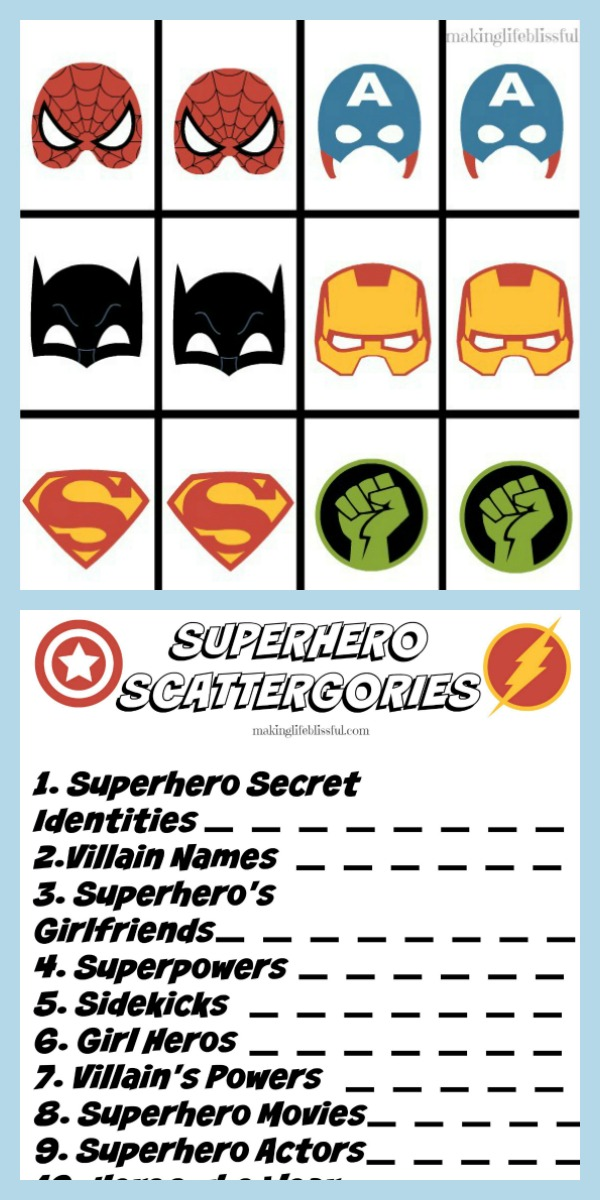 You Also Get Superhero Scattergories Which Is A Great Game For Groups Icebreakers Family Togethers And More To See Of Our Printable