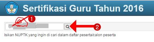 """1. Silakan kunjungi http://sergur.kemdiknas.go.id/  2. Klik link """"Daftar Calon Peserta"""" Daftar Lengkap Peserta Sertifikasi Guru 2016  3. Masukkan NUPTK Anda dan Klik Tombol Pencarian Input NUPTK Anda dan Klik Tombol Search  masukkan 16 digit Nomor Unik Pendidik dan Tenaga Kependidikan (NUPTK) klik tombol """"search"""" 4. Pengecekkan Daftar Peserta Sertifikasi Guru 2016 Berhasil, lihat hasilnya: Nama Peserta, Nilai UKG, Nomor Peserta, dan Tempat PLPG Sertifikasi Guru Kuota Tahun 2016 Nama Peserta, Nilai UKG, Nomor Peserta, dan LPTK Tempat PLPG Sertifikasi Guru Kuota Tahun 2016  Sumber: http://sergur.kemdiknas.go.id/"""