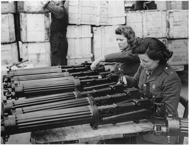 US machine guns supplied under Lend-Lease to England being checked, November 1941 worldwartwo.filminspector.com