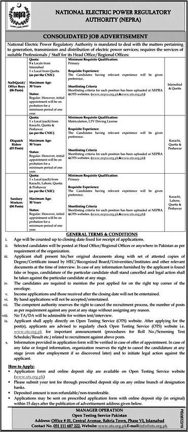 Jobs in National Electric Power Regulatory Authority (NEPRA) 2020 Advertisement