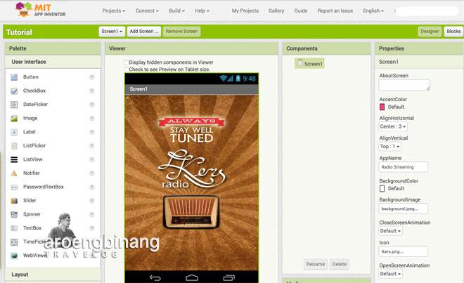 cara membuat aplikasi radio streaming untuk android  dengan mit app inventor 2