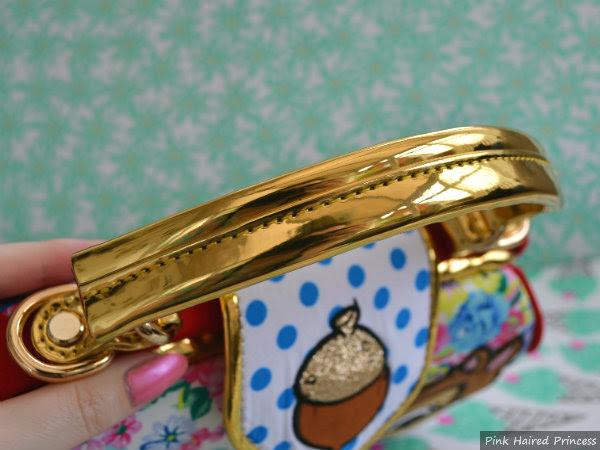 irregular choice disney chip n dale bag gold metallic fixed handle