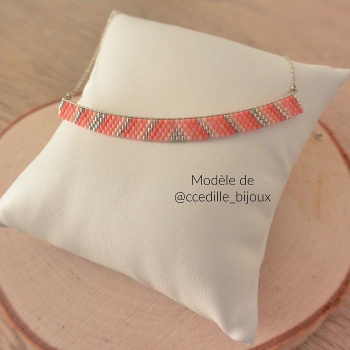 Collier rose et argent, d'après un modèle de CCedille bijoux, par Hello c'est Marine