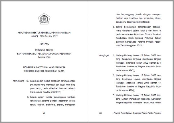 Juknis Bantuan Rehabilitasi Asrama Pondok Pesantren Tahun 2018