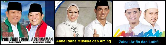 Tiga pasang calon Bupati dan wakil Bupati Kabupaten Purwakarta 2018