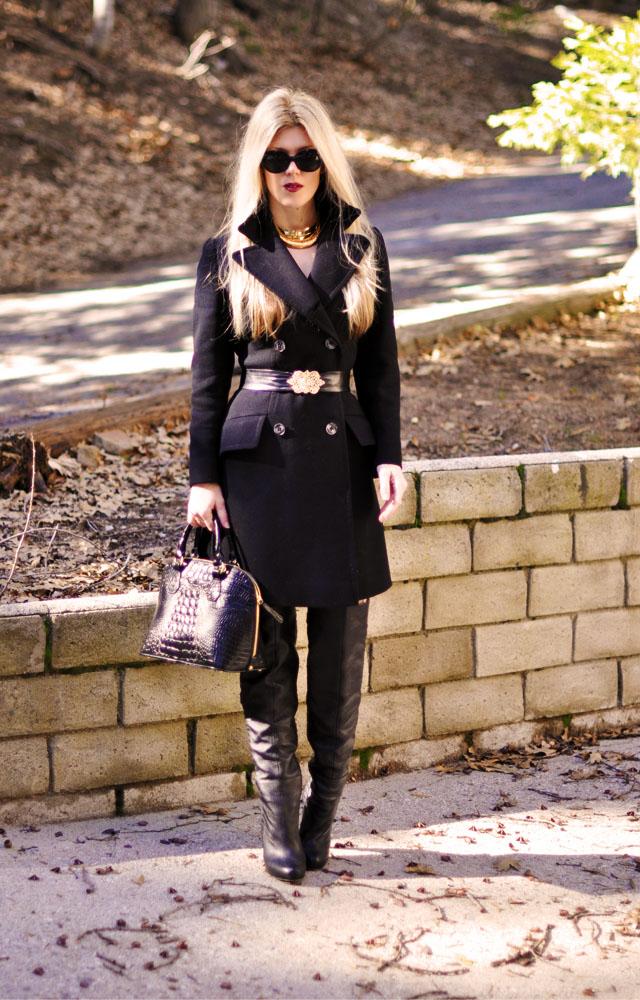 coat dress, boots