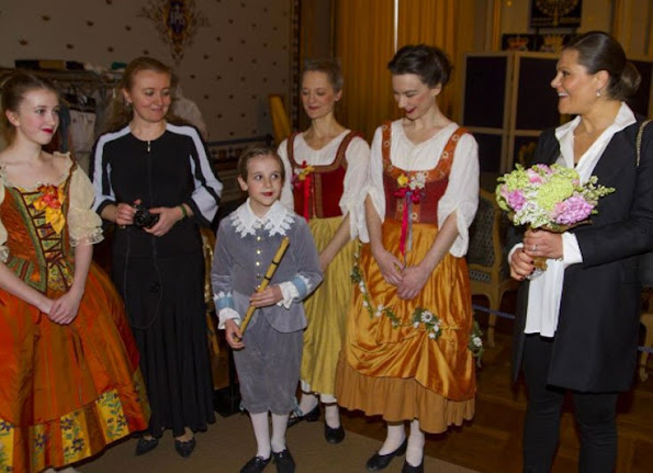 "Crown Princess Victoria of Sweden came together with members of dance band ""Musiken som Försvann"" which is a member of Royal Palace Music Festival at the concert hall of Stockholm Royal Palace."