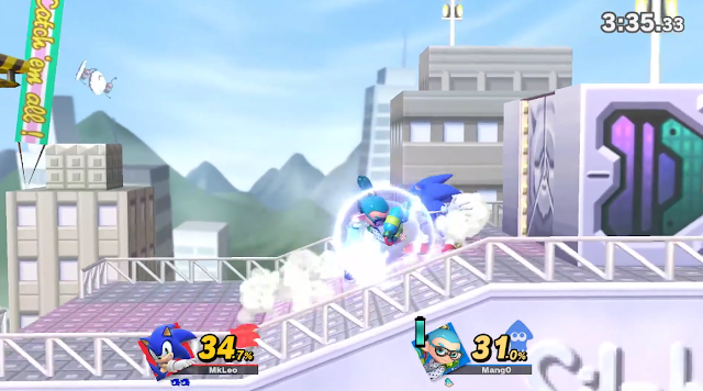 Super Smash Bros. Ultimate Saffron City stage Inkling Sonic