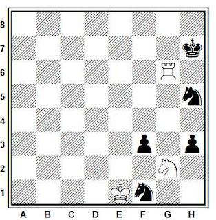 Estudio artístico de ajedrez compuesto por A. Foguelman (4º Premio, KSFAH, 1997-98)