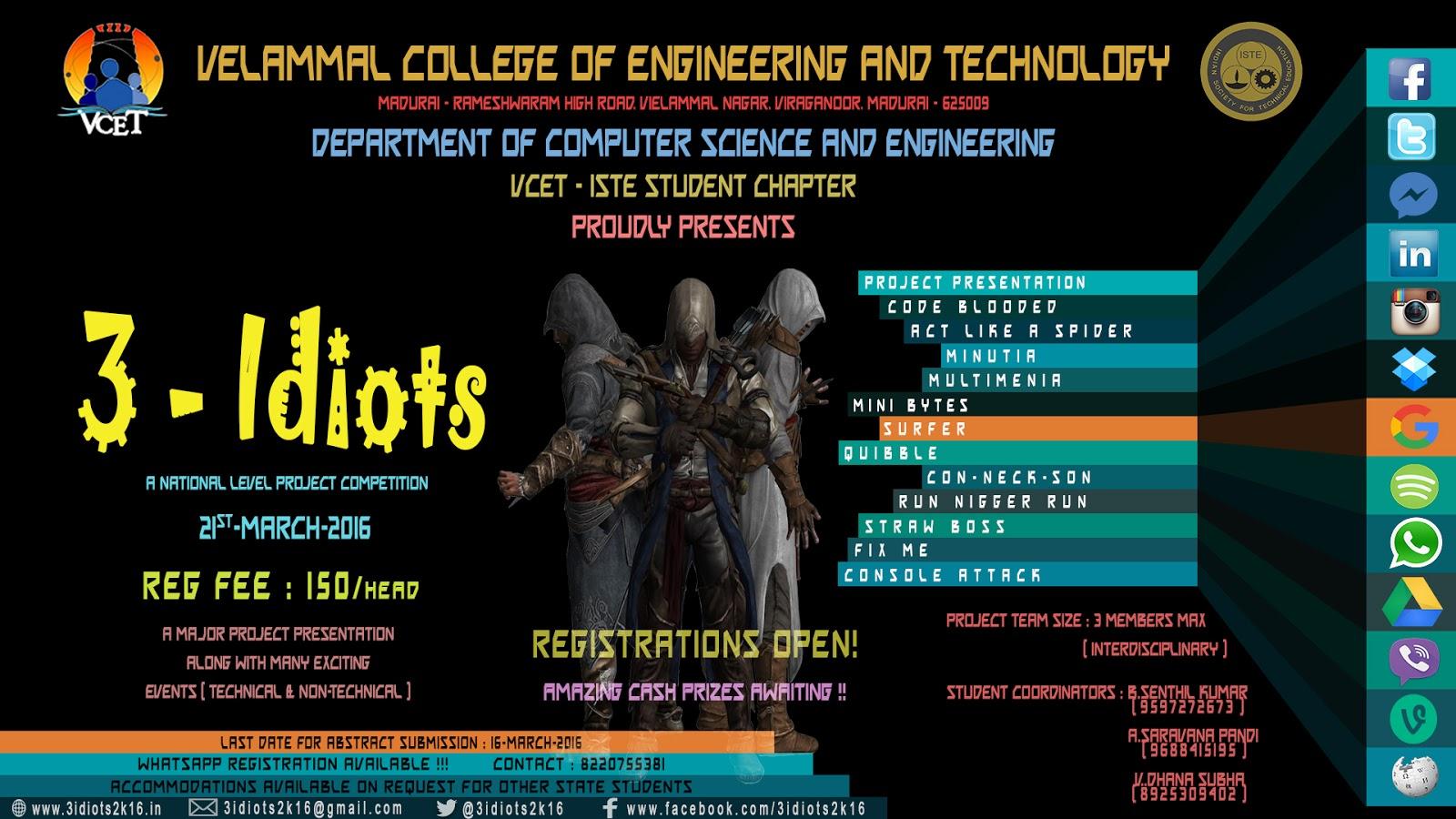 3 Idiots Symposium Invitation At Vcet Madurai