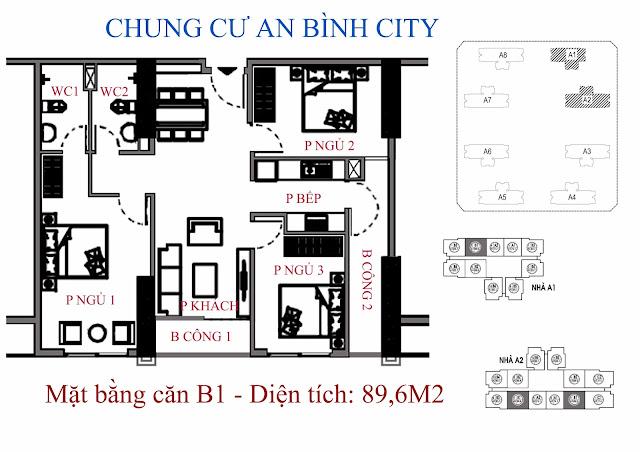 căn hộ B1 diện tích 89,6m2