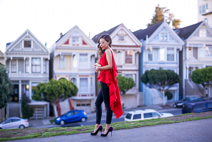 Red cascading ruffles top, style mafia chelsea top, 7fam skinny jeans, 7fam baire denim, christian louboutin pumps, fringe gold clutch, baublebar earrings, street style, new years eve outfit ideas, holiday party outfit ideas, san francisco fashion blog, san francisco street style