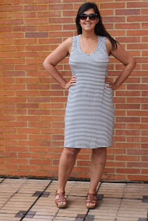Sleeveless knit dress in skinny navy and white stripes, made from the Plantain T-Shirt pattern.