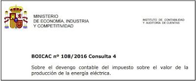 BOICAC 108  Consulta 4 Contabilidad Sobre el devengo contable del impuesto sobre el valor de la producción de la energía eléctrica (IVPEE).