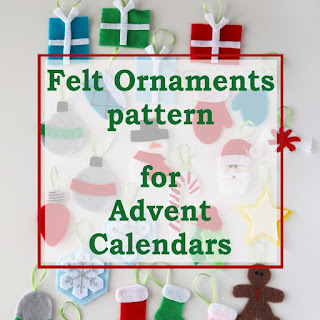 Felt advent calendar ornaments PDF pattern
