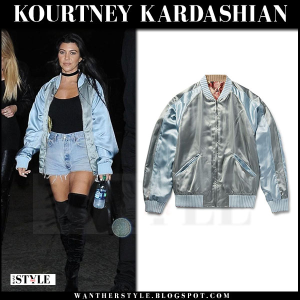 Kourtney Kardashian in light blue satin bomber gucci jacket what she wore