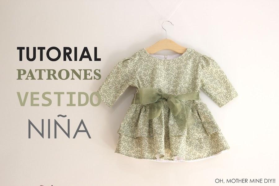 DIY patrones vestido niña volantes talla 3 a 8 años