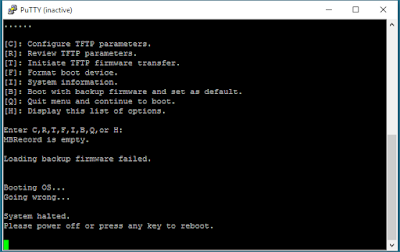 Network Security Memo — Fortigate Firewall Console TFTP Image Recovery