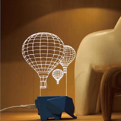3D Visual Night Light Elephant Air Balloon