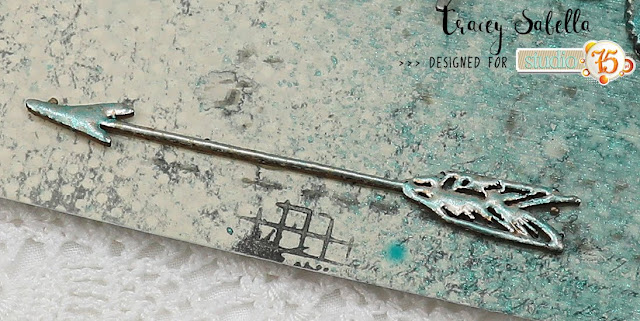 """Journey"" Card by Tracey Sabella for Studio75: #studio75 #littlebirdiecrafts #littlebirdieonline #lindysgang #stampendous #mixedmediacard #mixedmedia #patina #steampunk #finnabair #primamarketing #helmar #prills #7gypsies #diycard #diycards #handmadecard #handmadecards #handcraftedcard #handcraftedcards #stencil #chipboard"
