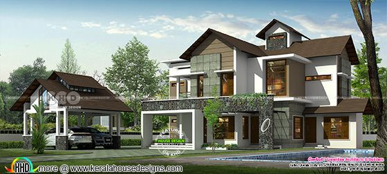 Modern house rendering with detached car porch
