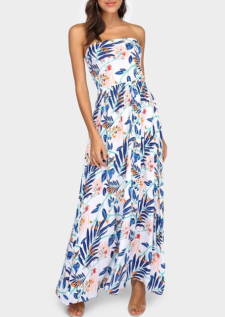 Floral Leaf Strapless Maxi Dress